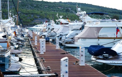 All-Concrete pontoons with hardwood timber decking and stainless steel cleats at Aci Cres Marina, Cres, Croatia