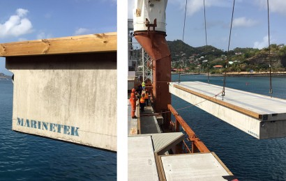 Pontoons being offloaded in Grenada for the Port Louis Marina extension.